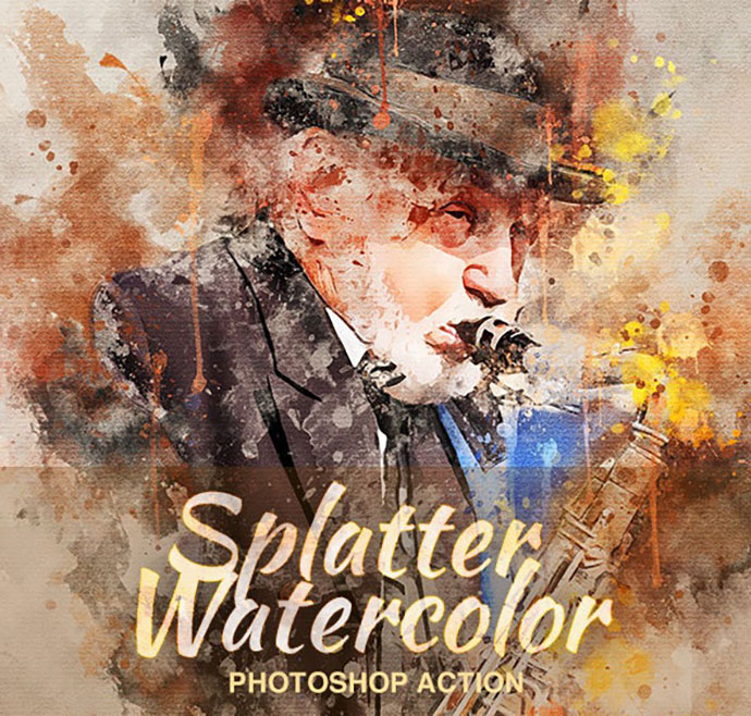 Splatter Watercolor Photoshop Action
