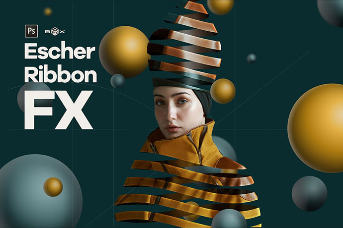 Escher Ribbon FX Photoshop Add-On Extension