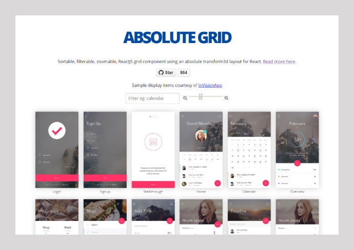 React Absolute-grid