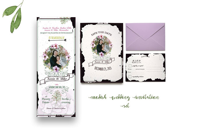 Modish Wedding Invitation Stationery