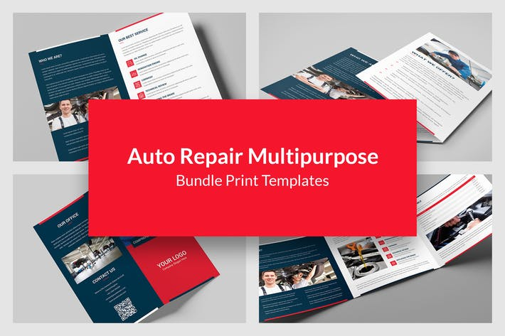 Auto Repair – Bundle Print Templates 5 in 1