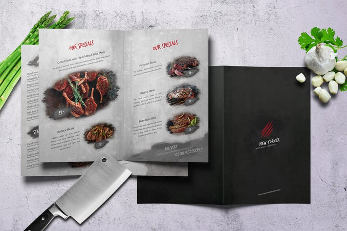 New Yorker Bifold A4 & US Letter Food Menu