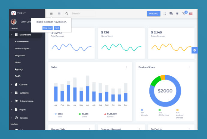 20 Awesome Vue Admin Dashboard Designs – Bashooka