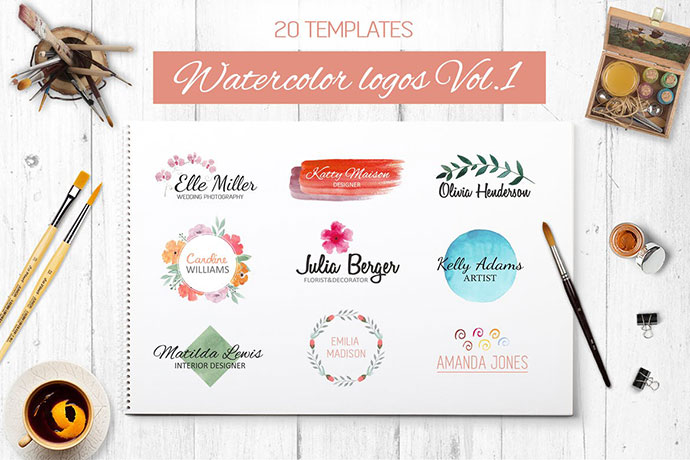 Watercolor logo templates Vol.1