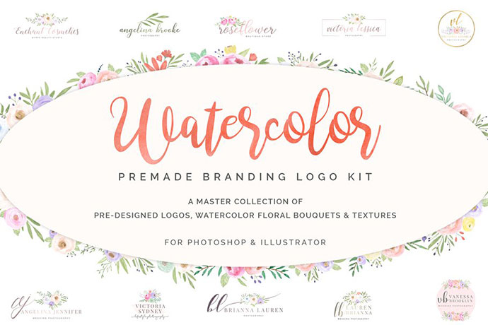 Watercolor Premade Branding Logo