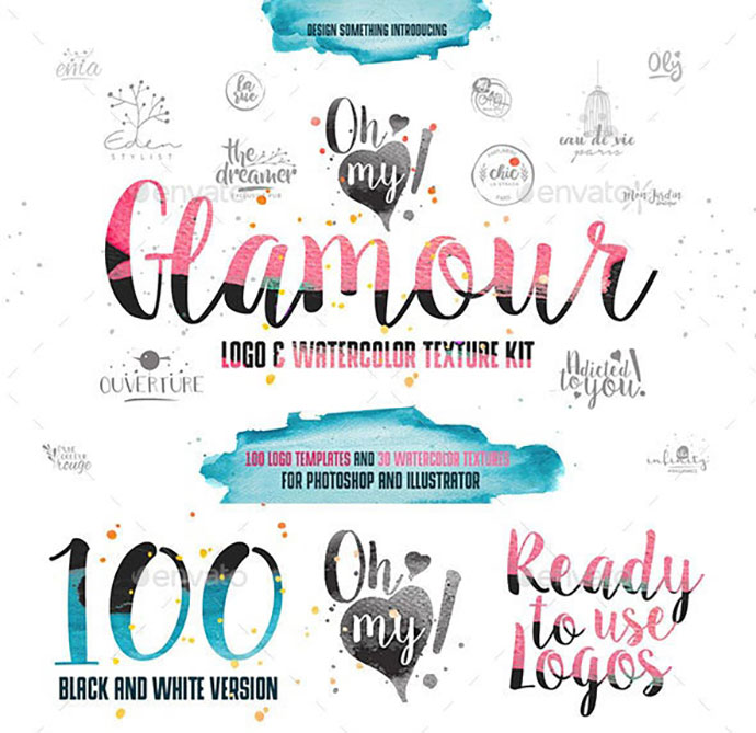 100 Glamour Logos & Watercolor Kit