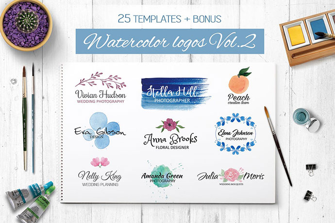 Watercolor Logo Templates Vol.2