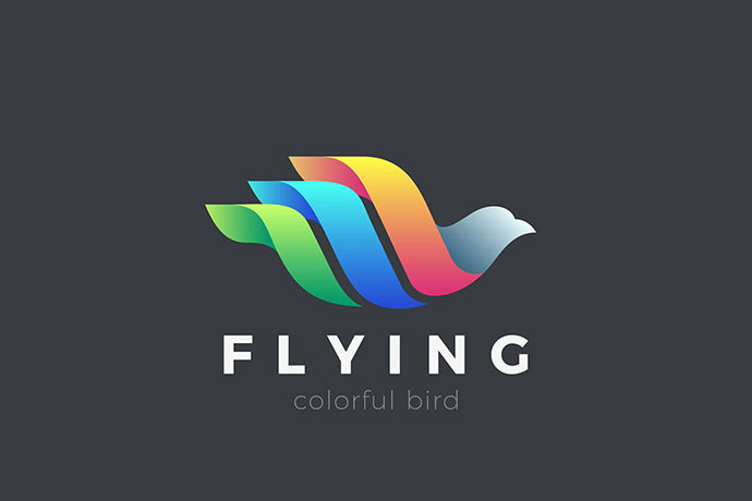 Flying Bird Logo Colorful Abstract Design
