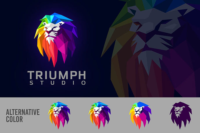 Low Poly Geometric Colorful Lion Mascot Logo