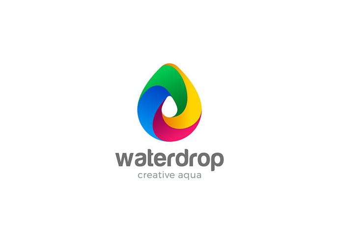 Logo Water Droplet Colorful Aqua Drink Drop