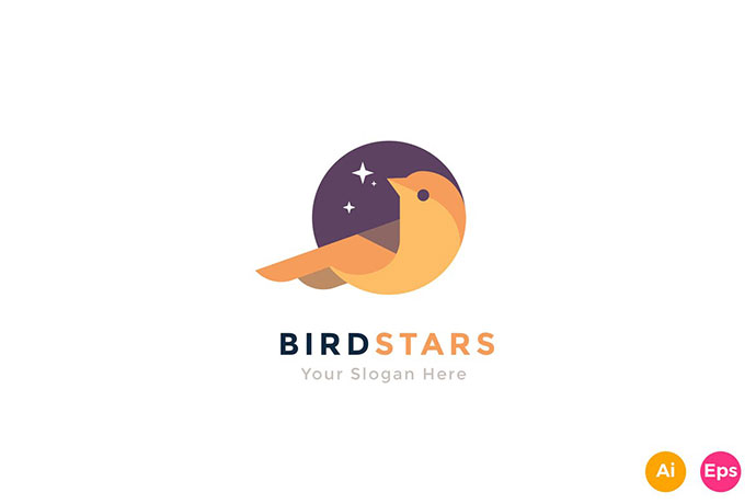 Bird Star Colorful Animal Logo Template