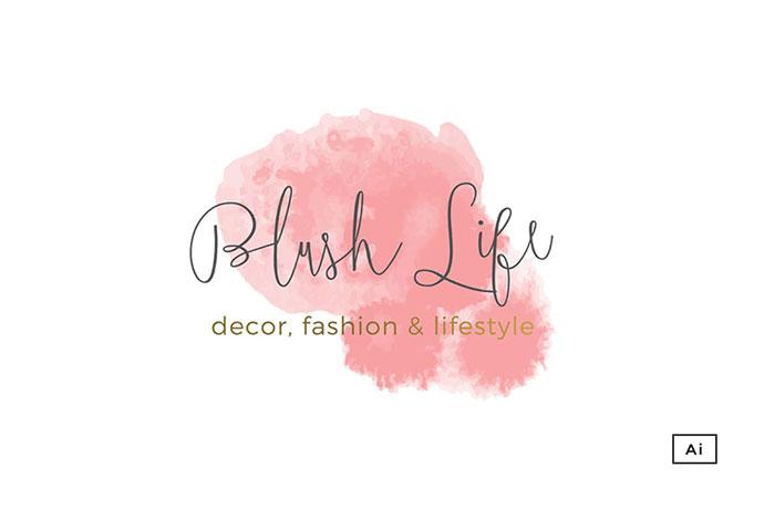 Blush Life Watercolor Logo Template