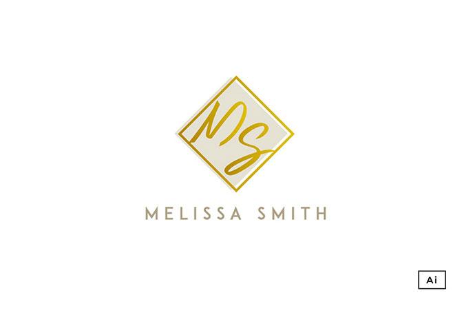 Square Gold Icon Logo Template