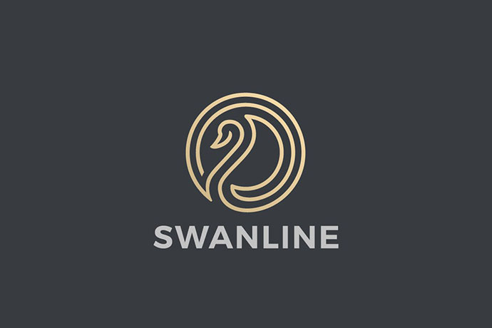 Logo Swan Luxury Abstract Circle Shape Linear