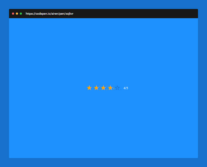 Using radio buttons and a css counter, we can create a fully functional star rating control with no JavaScript.