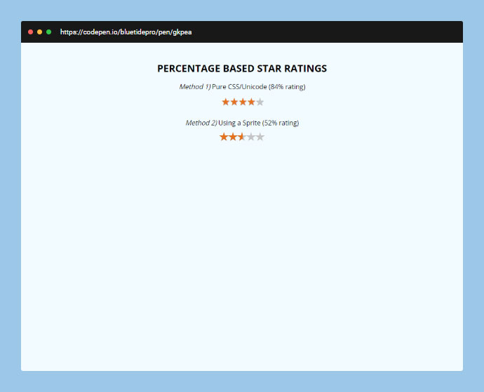 Getting a star rating using a percentage