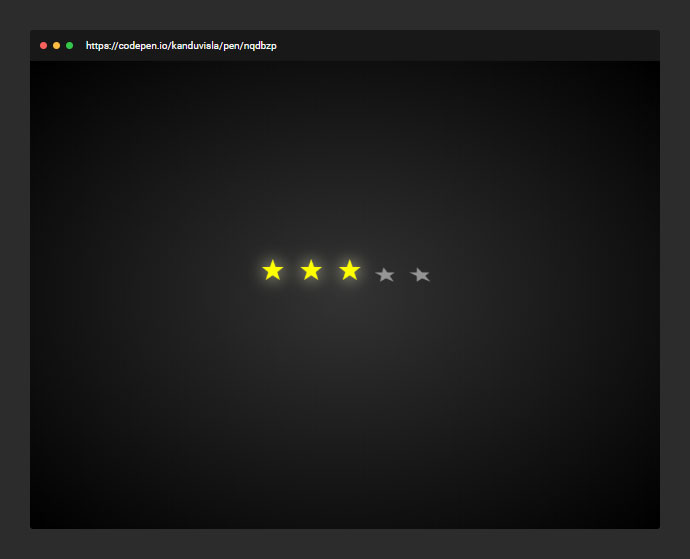 A simple star rating example with some CSS transitions