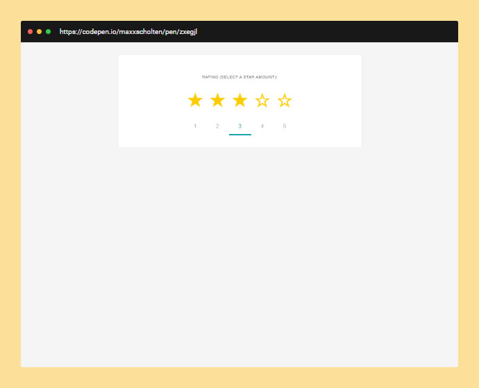 A star rating system that works in email clients  Hovering over the stars fills in the correct amount.