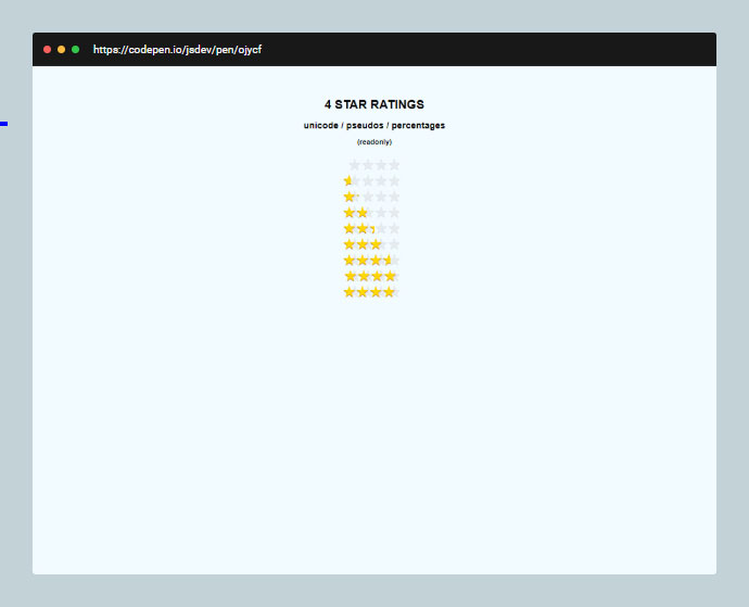Css Imageless Star Rating Readonly