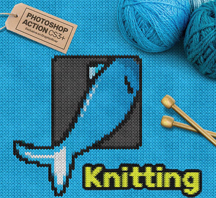 Knitting CS3+ Photoshop Action