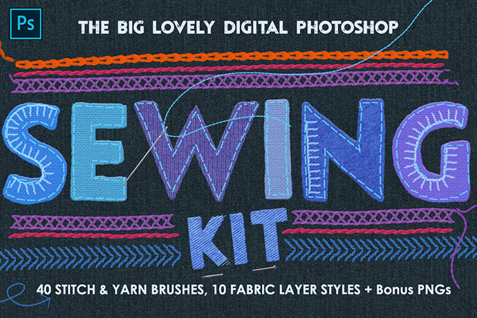 Sewing & Embroidery Photoshop Kit