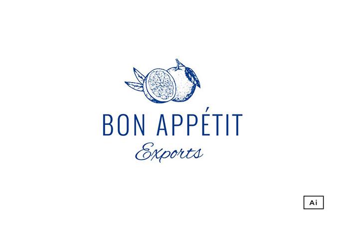 Bon Appetit Vintage Logo Template