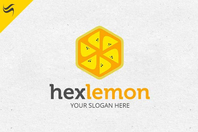 Hex Lemon Fruit Logo Template