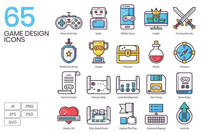 65 Game Design Icons