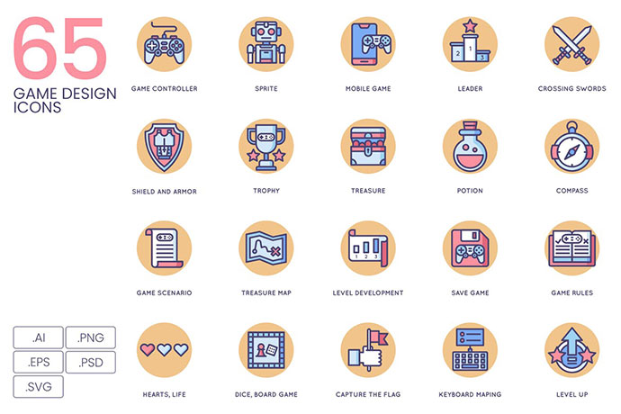 65 Game Design Icons | Butterscotch Series