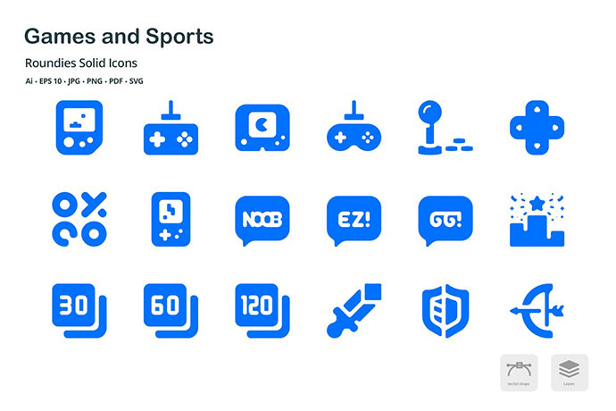 Games and Sports Roundies Solid Glyph Icons