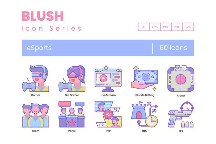60 Gaming & Esports Icons | Blush Series