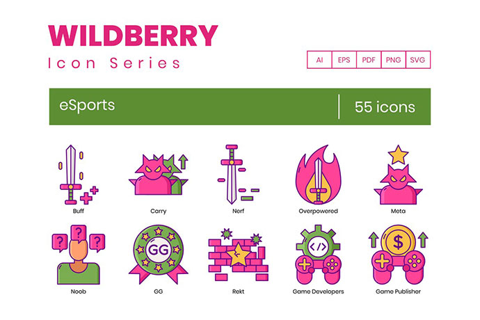 55 eSports Icons | Wildberry Series