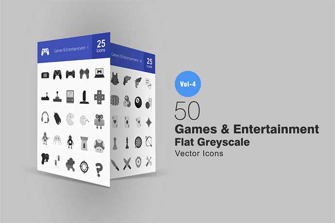 50 Games & Entertainment Greyscale Icons