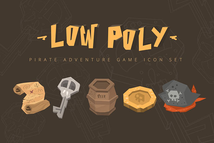 Low Poly Pirate Adventures Game Icon Set