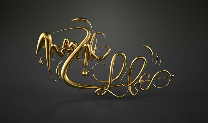 Abstract 3d Typography