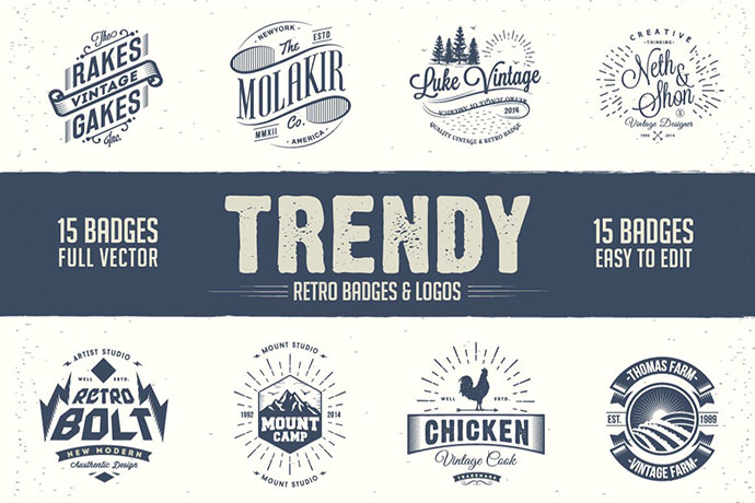 Trendy Retro Badges And Logos