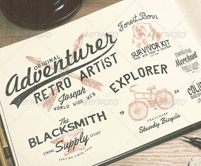 21 Hand Drawn Vintage Logos Bundle Volume 1