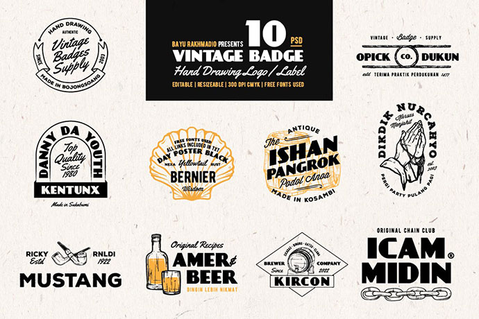10 Vintage Badges Drawing