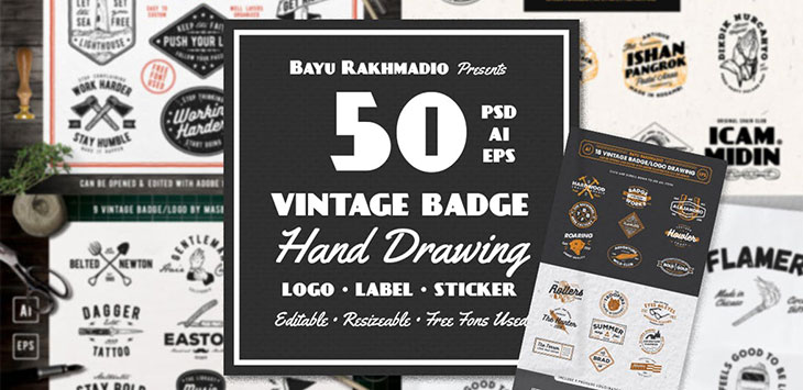 20 Stunning Hand-Drawn Badge Logo Design Templates