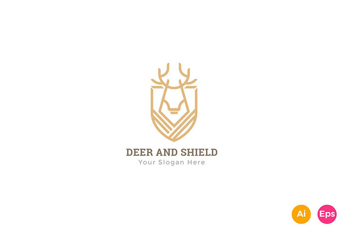 Deer Shield heraldry Logo Template