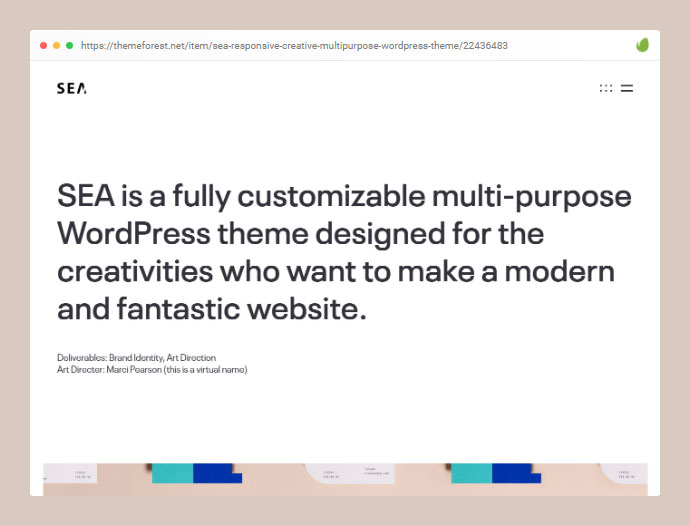 SEA | Modern & Clean Creative WordPress Theme