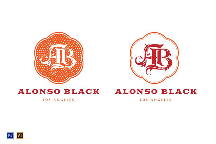 AB Monogram Logo Template