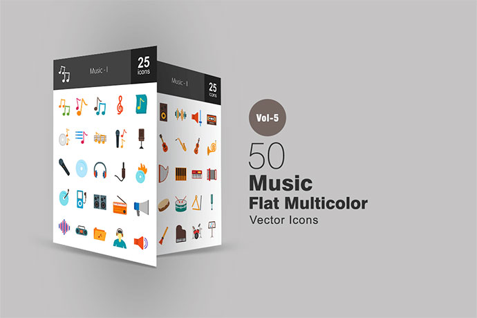 50 Music Flat Multicolor Icons