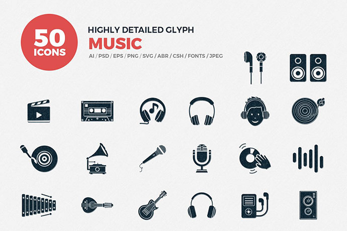Glyph Icons Music Set