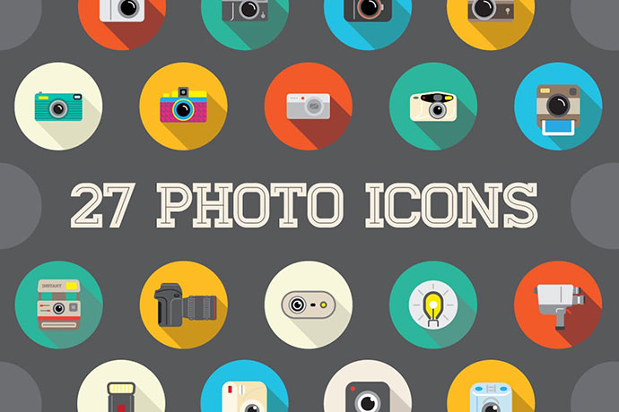 27 Vector Photo Flat Icons Set