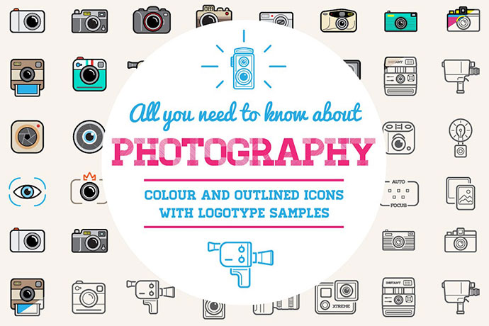Photo Color And Outlined Icons With Logotypes