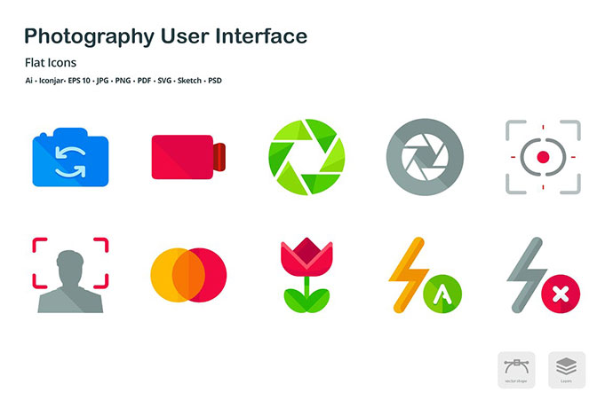 Photography User Interface Flat Colored Icons