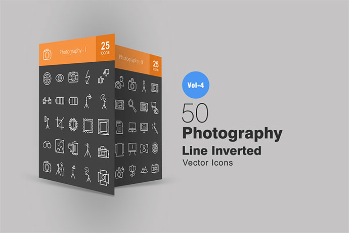 50 Photography Line Inverted Icons