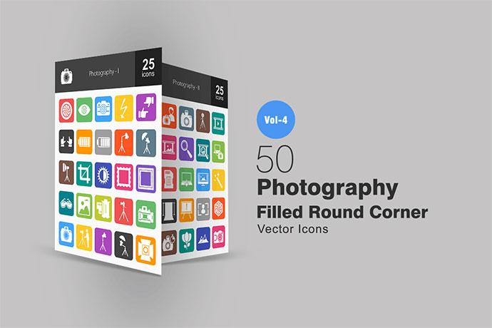 50 Photography Flat Round Corner Icons