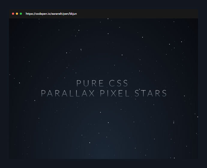 Using a very simple sass function, and CSS animation keyframes, built parallax scrolling stars in space.